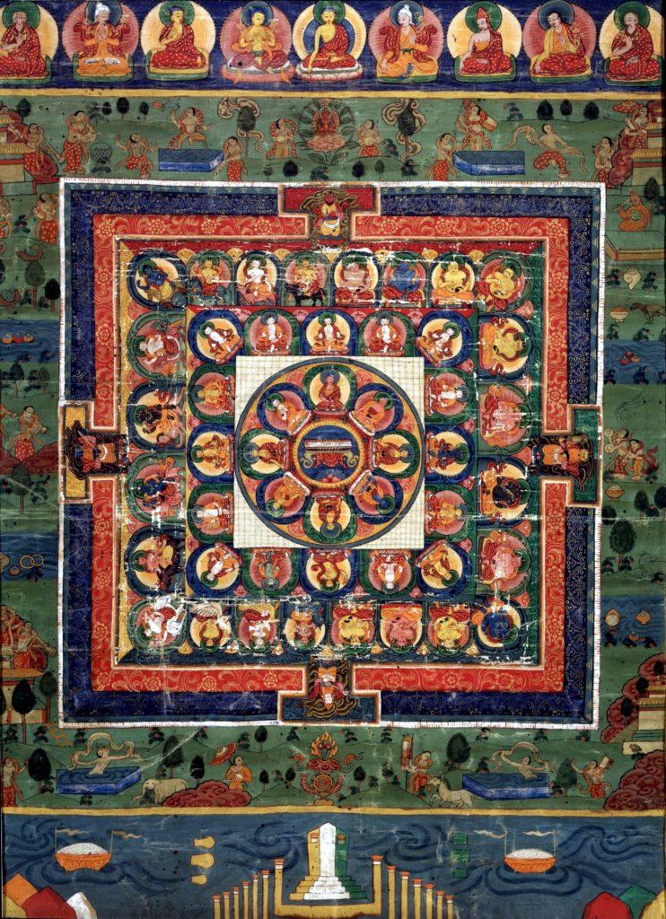 Mandala przedstawiająca Bhutaneskiego Buddę Medycyny z boginią Prajnaparamita w środku, XIX wiek, Rubin Museum of Art Źródło: Wikimedia Commons