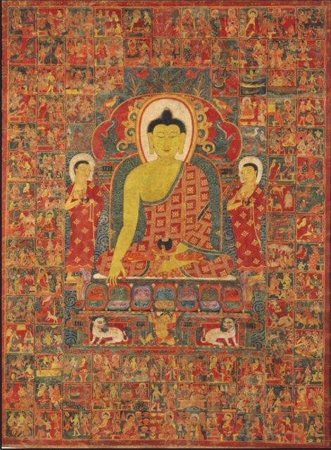 Thangka przedstawiająca Buddę, XIII-XIV wiek Źródło: Wikimedia Commons