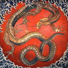 """Hokusai, """"Smok"""" - drzeworyt przedstawiający trójpalczastego smoka japońskiego"""