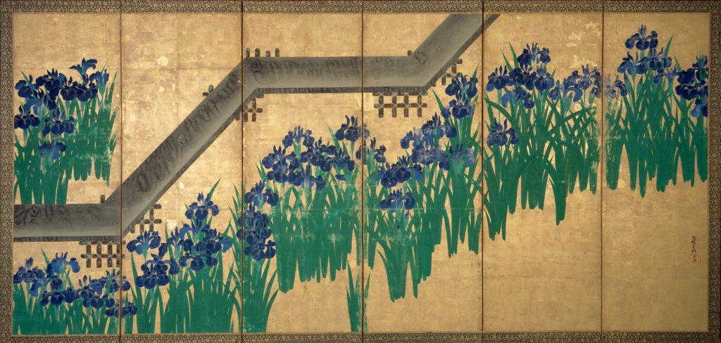 """Ogata Korin, """"Irysy i most (Yatsuhashi)"""", XVIII w. Źródło: metmuseum.org"""