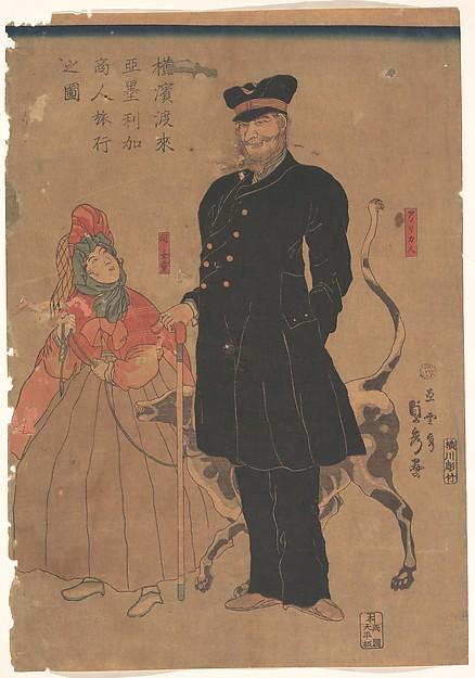 """""""Amerykański kupiec spacerujący po Jokohamie, Utagawa Sadahide, 1861 r."""