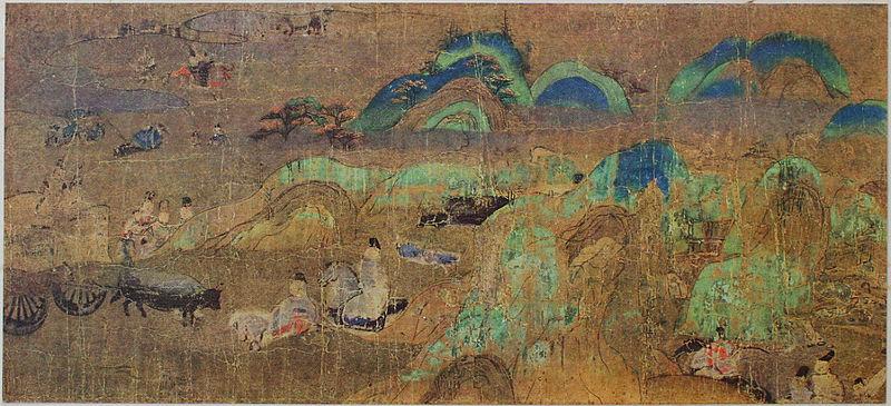 Fragment Genji monogatari, XII w. Źródło: Wikimedia commons