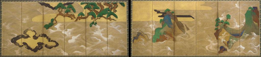 """Tawaraya Sōtatsu, """"Fale nad Matsushima"""", XVII w., Szkoła Rimpa, przykład uproszczenia yamato-e Źródło: Wikimedia commons"""