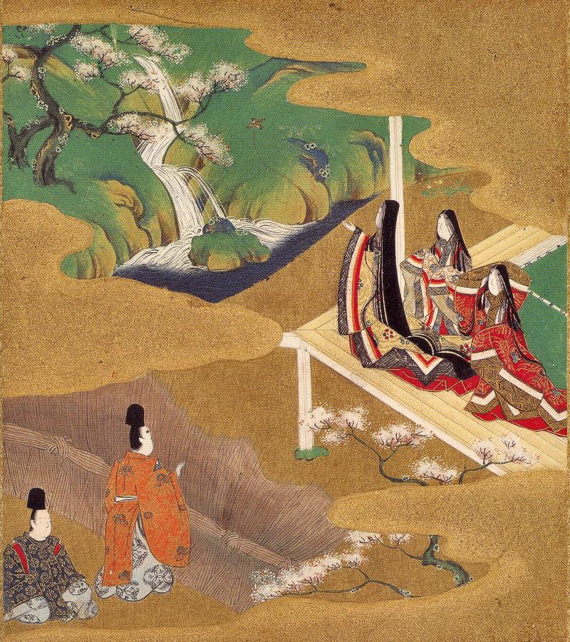 """Tosa Mitsuoki, scena z """"Genji monogatari"""", XVII w., Szkoła Tosa Źródło: Wikimedia commons"""